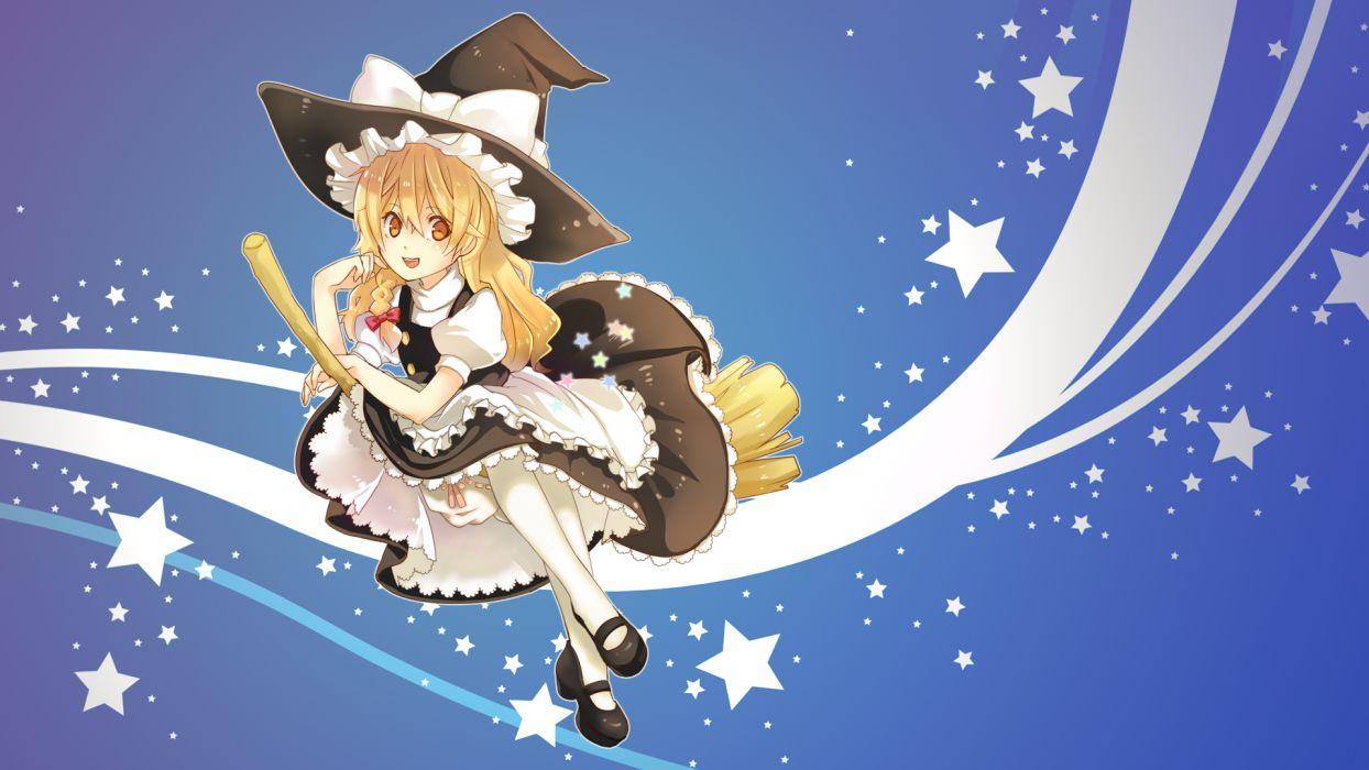 apron blonde hair bloomers bow dress hat kirisame marisa photoshop stars touhou witch wallpaper