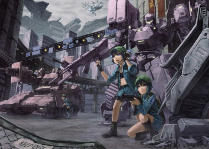 armored core gun headphones kawashiro nitori kurione (zassou) mecha touhou weapon wallpaper