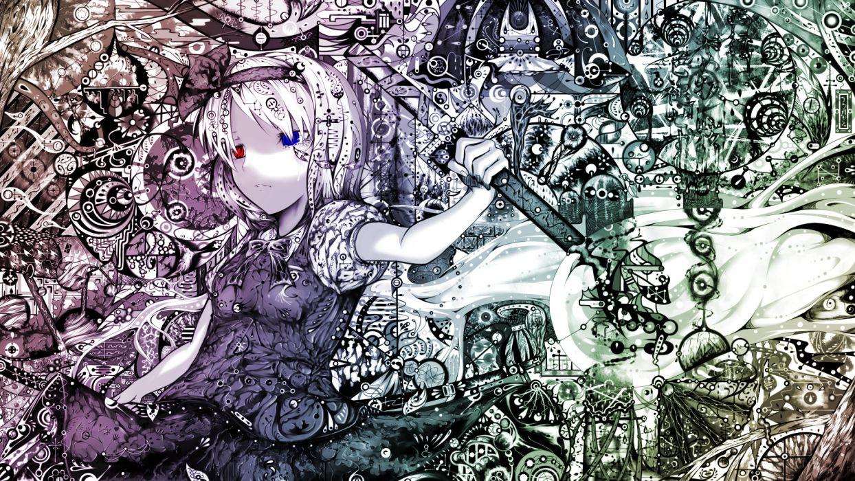 bicolored eyes konpaku youmu myon polychromatic sibanoue sword touhou weapon wallpaper