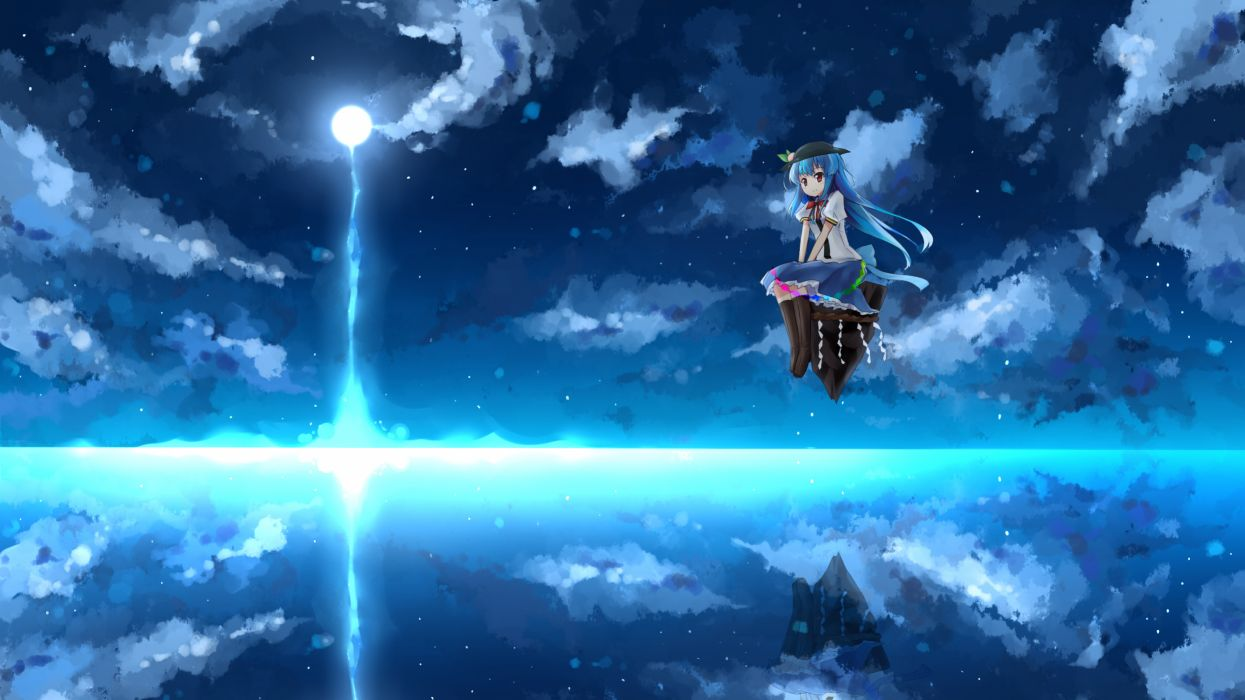blue hair boots clouds hat hinanawi tenshi long hair moon night red eyes shuizao (little child) skirt sky touhou water wallpaper