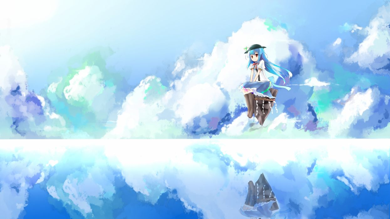 blue hair boots clouds hat hinanawi tenshi long hair red eyes shuizao (little child) skirt sky touhou water wallpaper