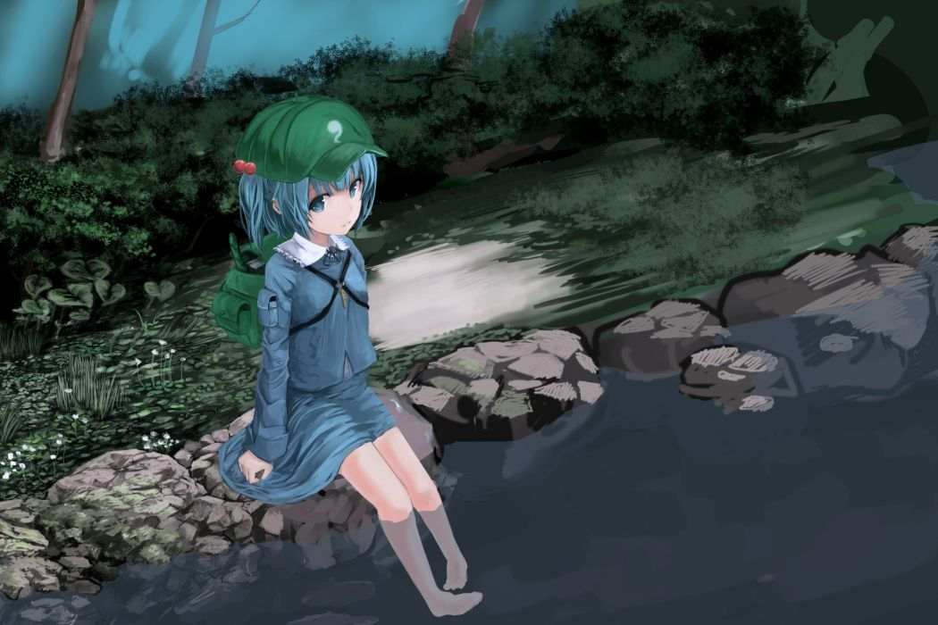 blue hair buruxugi hat kawashiro nitori touhou water wet wallpaper