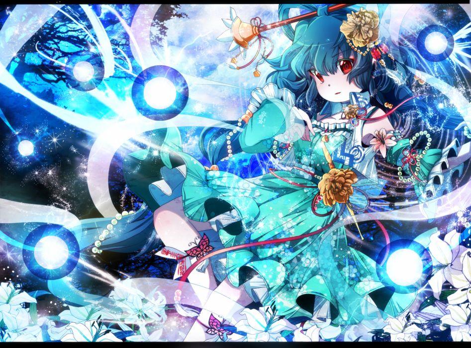 blue hair dress fumiko (miruyuana) kaku seiga red eyes touhou wallpaper