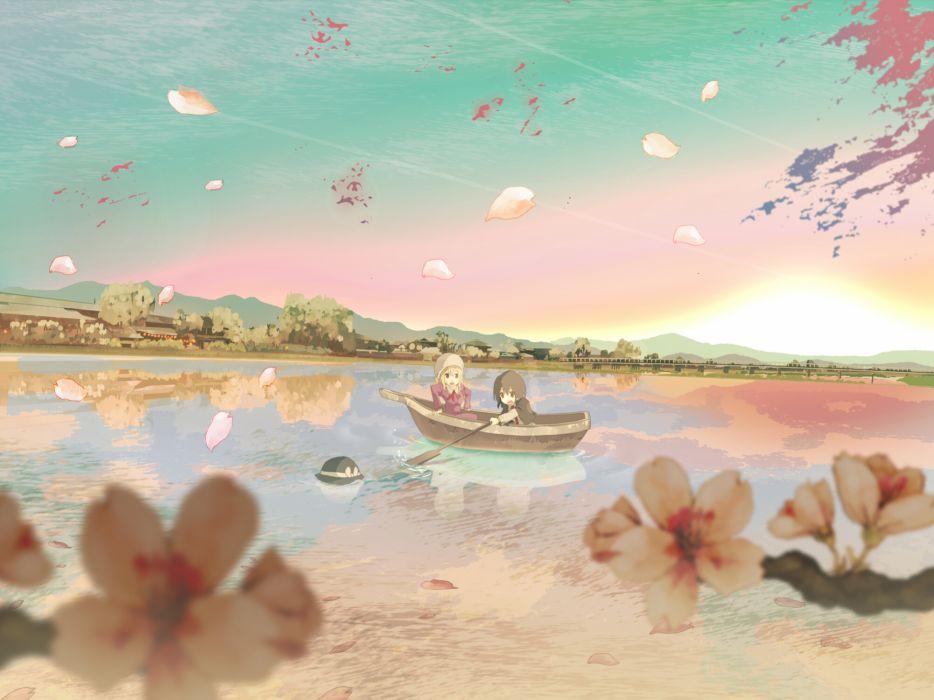boat cherry blossoms hat maribel han petals shinta (hmmuk) touhou usami renko water wallpaper
