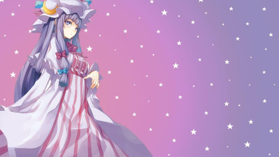 bow dress hat long hair moon patchouli knowledge photoshop pink purple purple eyes purple hair shingo stars touhou wallpaper