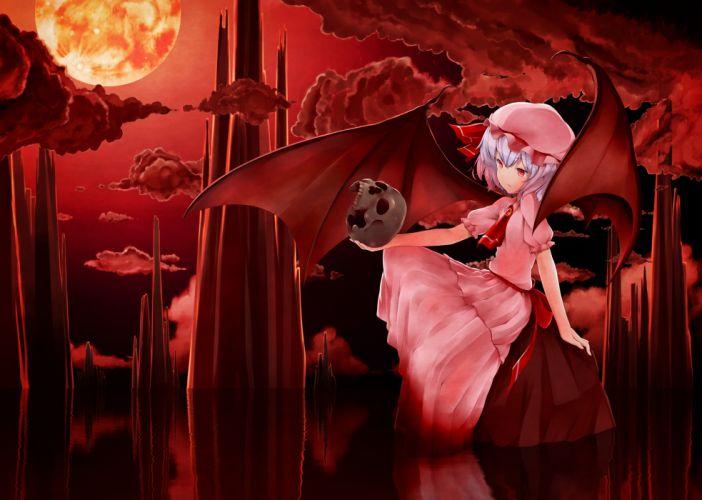 dress hat moon ninnzinn remilia scarlet short hair skull touhou water wings wallpaper