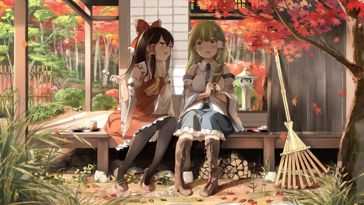 girls boots bow dress green hair hakurei reimu kochiya sanae leaves pantyhose supertie tie touhou tree wallpaper