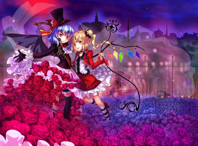 girls dress flandre scarlet flowers hat night remilia scarlet rose touhou wings wallpaper