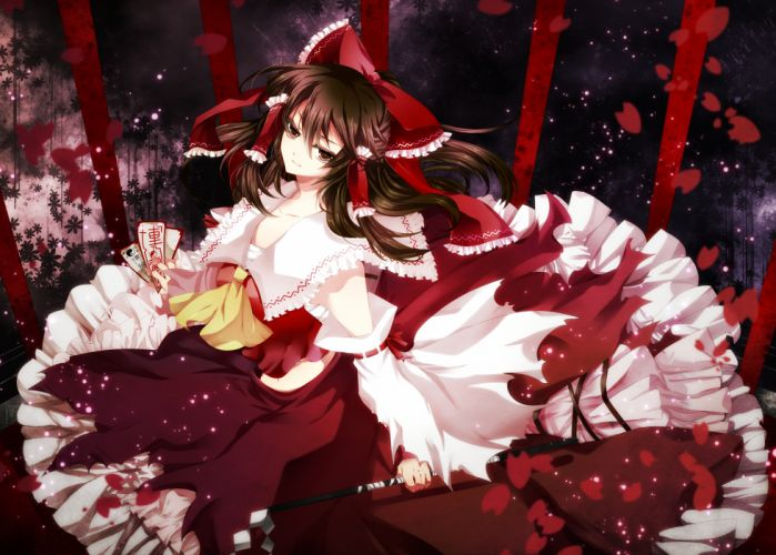 hakurei reimu long hair touhou wallpaper