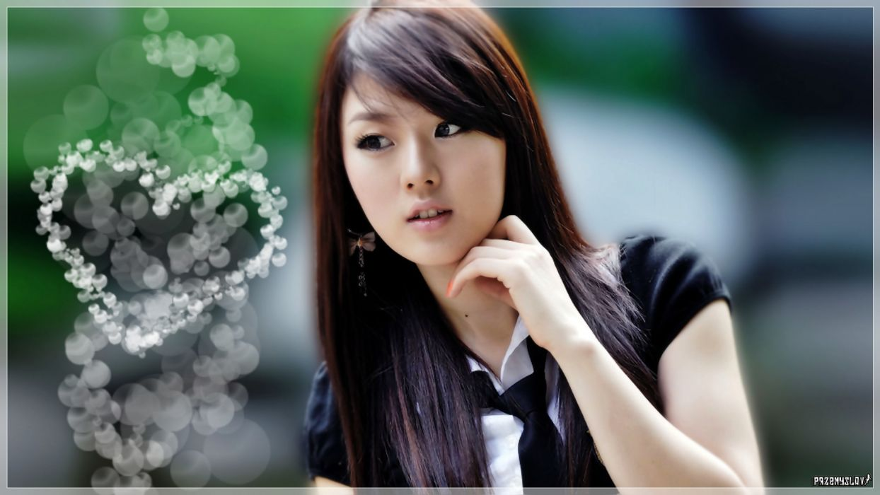 brunettes women Hwang Mi Hee Asians bokeh Korean hearts wallpaper