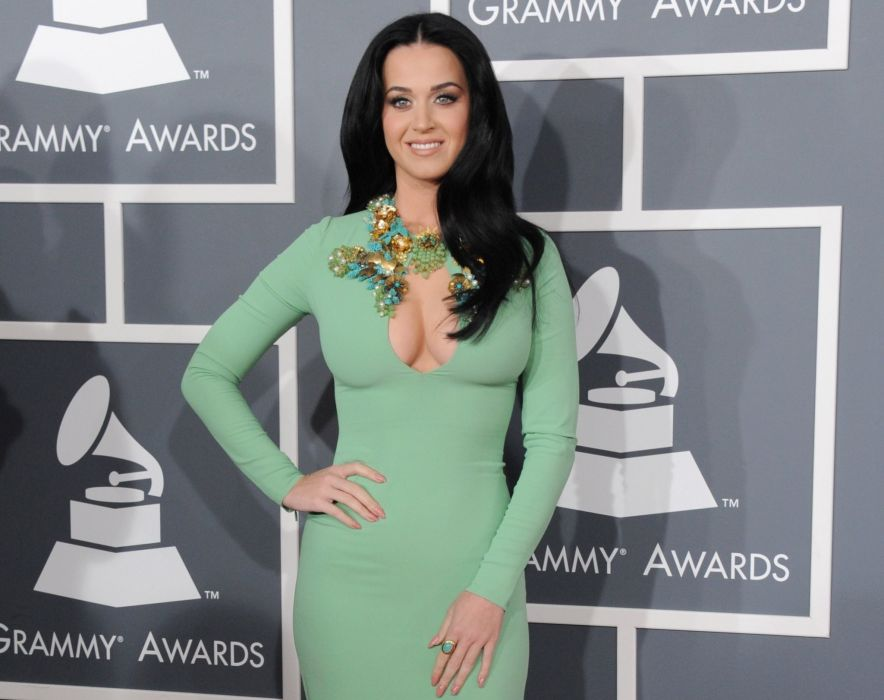 brunettes boobs Katy Perry cleavage katy necklaces huge boobs green dress Awards Grammy wallpaper
