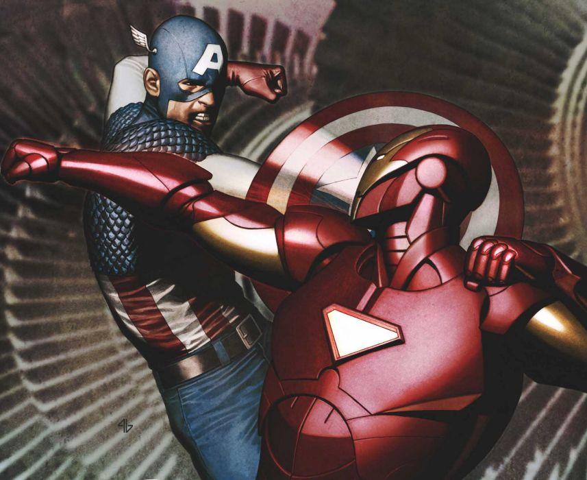 Iron Man Captain America Marvel Comics wallpaper