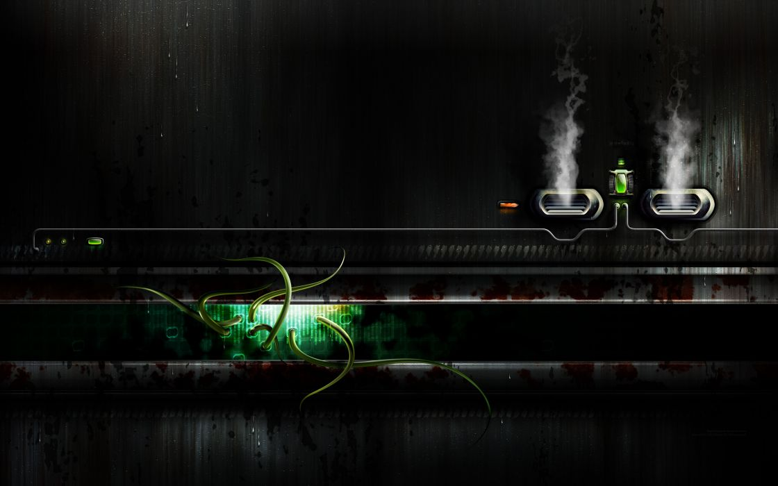 green tentacles digital art science fiction wallpaper