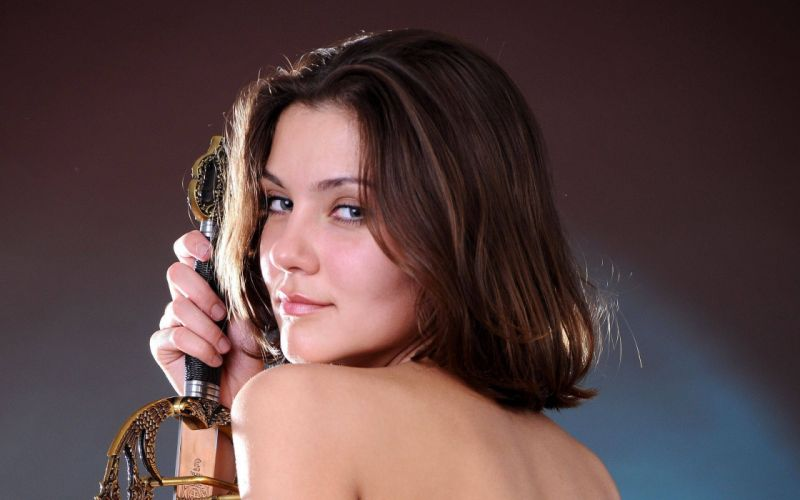 brunettes women models Femjoy magazine nude looking back swords Sabine wallpaper