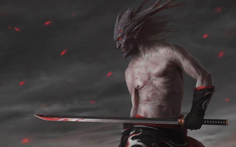fantasy swords demon wallpaper