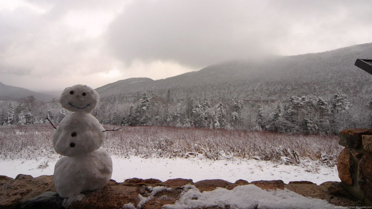 winter snowmen wallpaper
