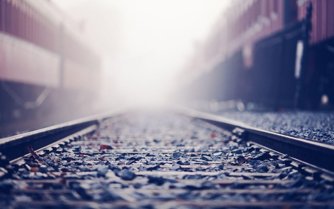 trains stones bokeh sunlight railroad tracks depth of field wallpaper