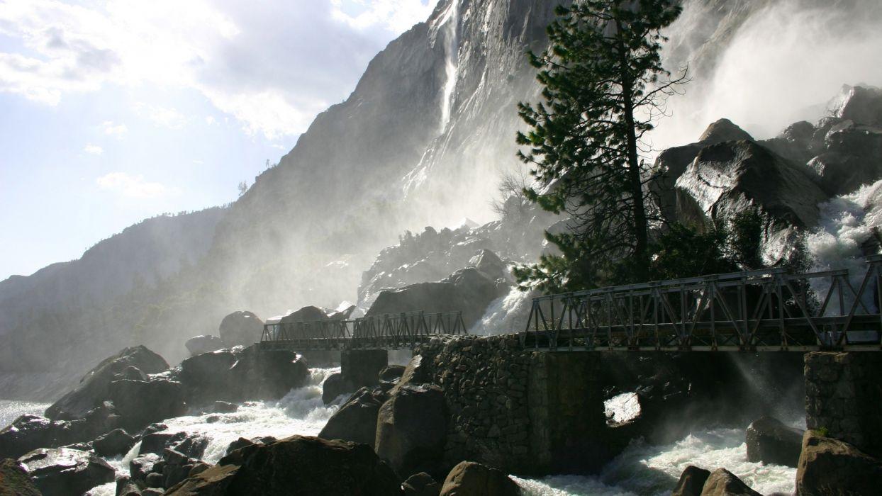 landscapes trees bridges rivers wallpaper