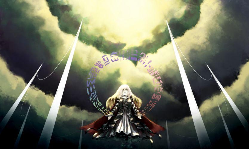 akihira fujinohara blonde hair cape clouds hijiri byakuren long hair touhou wallpaper