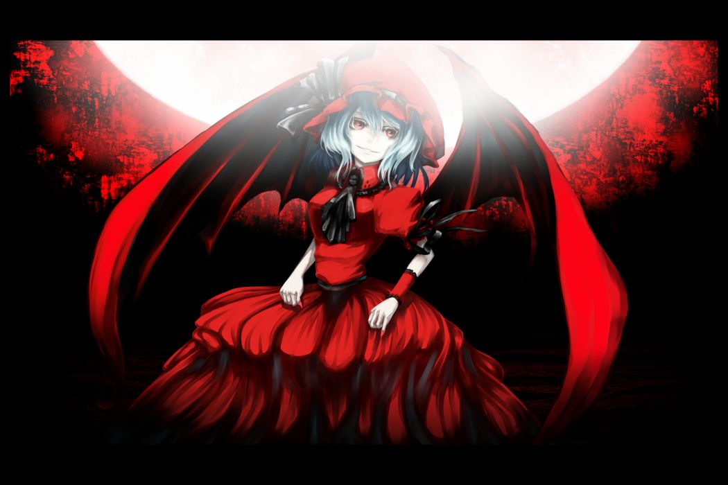 akihira fujinohara blue hair bow dress gray hair hat moon polychromatic red eyes remilia scarlet touhou vampire wings wallpaper