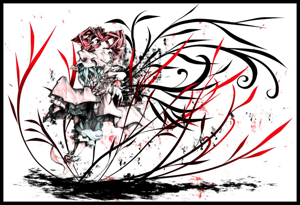 akihira fujinohara blue hair polychromatic red eyes remilia scarlet short hair touhou vampire wallpaper