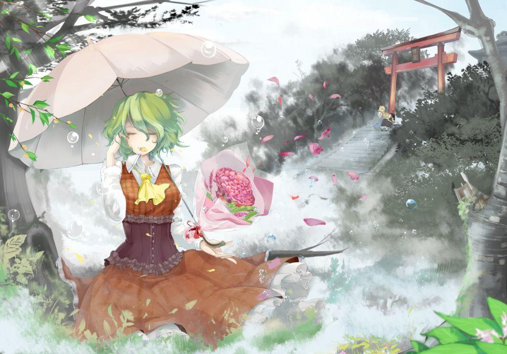 alice margatroid dress emerane flowers green hair kazami yuuka kirisame marisa petals touhou umbrella wallpaper