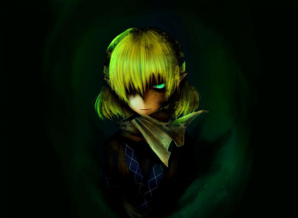am24 blonde hair green green eyes mizuhashi parsee photoshop short hair touhou wallpaper
