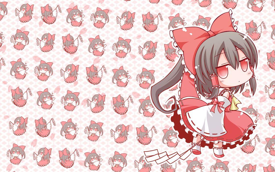 angeltype black hair bow braids chibi hakurei reimu japanese clothes long hair miko petals ponytail red eyes touhou wallpaper