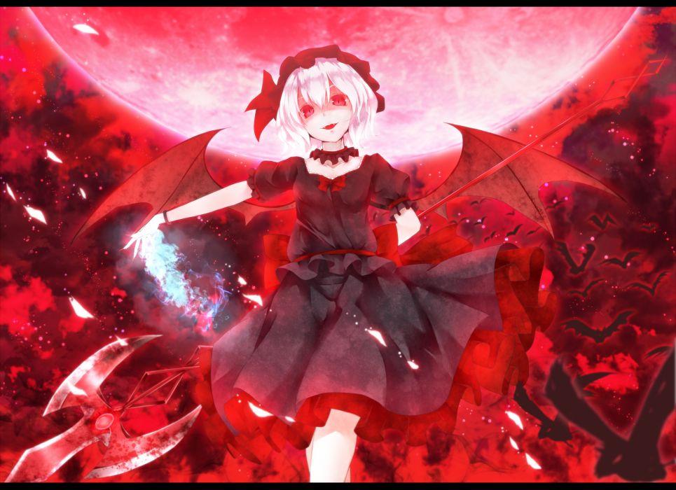 animal bat dabadhi dress moon red eyes remilia scarlet touhou vampire weapon wings wallpaper