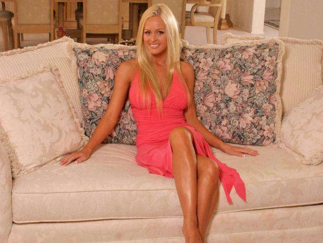 blondes women dress pink models Katie Lohmann wallpaper