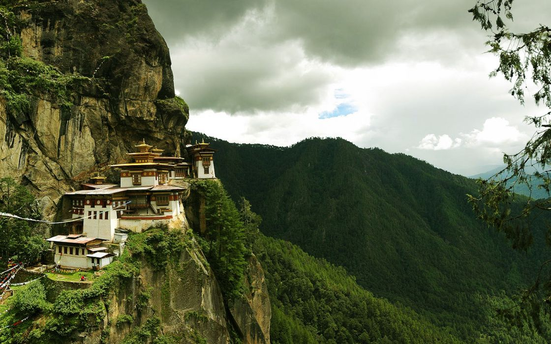 mountains old houses Chinese asian architecture Cliff wallpaper