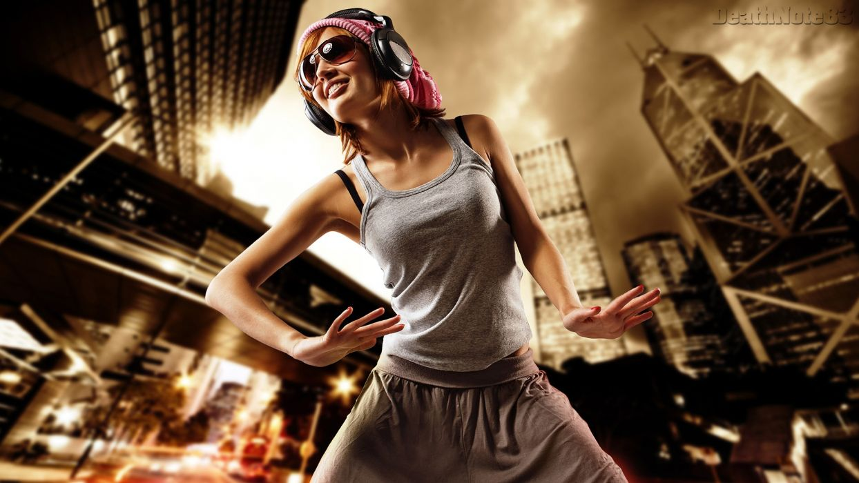 headphones blondes women dance sunglasses dancers dancing wallpaper