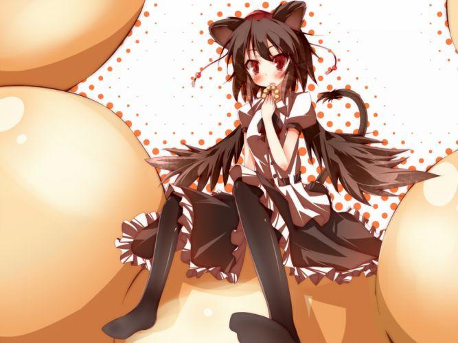 animal ears blush brown hair daidai ookami dress food hat pantyhose red eyes shameimaru aya short hair tail touhou wings wallpaper