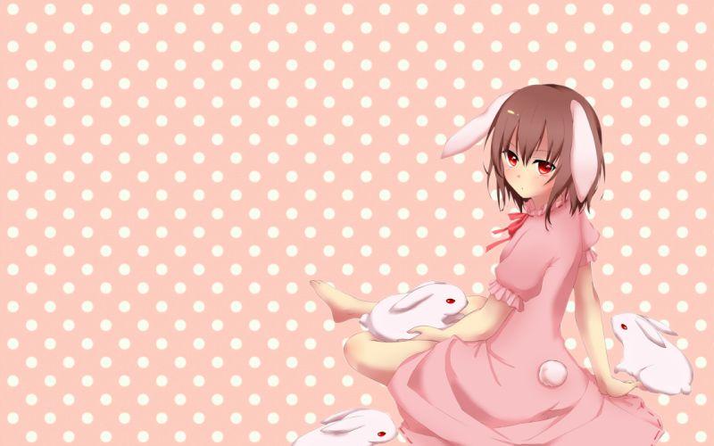 animal ears brown hair bunny bunnygirl dress inaba tewi kobayashi marina photoshop rabbit red eyes short hair tail touhou wallpaper