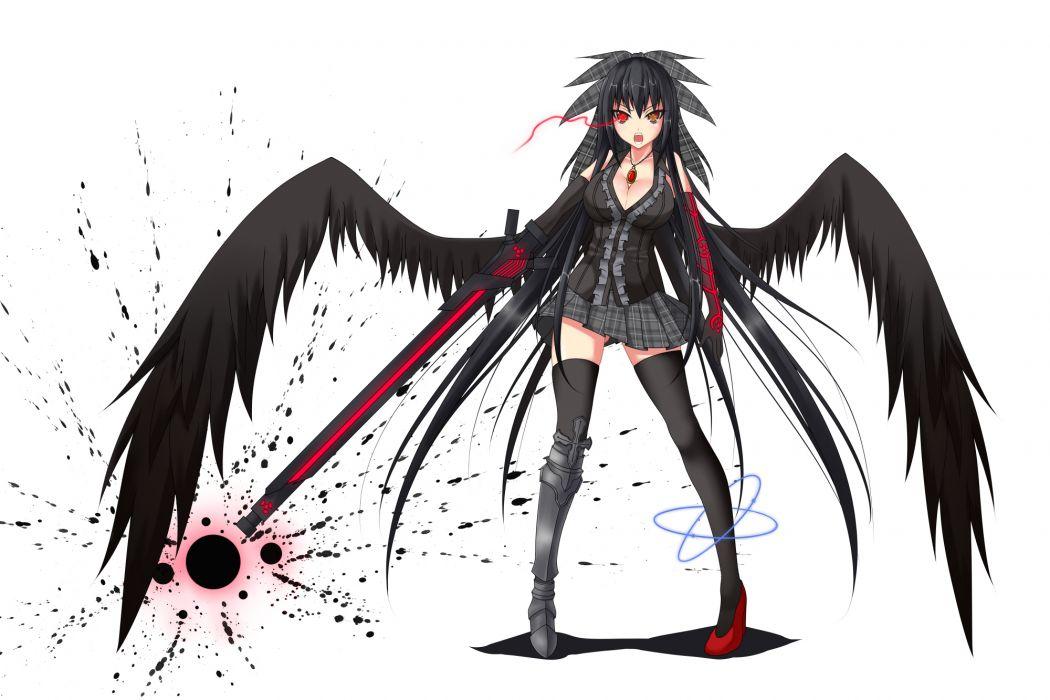 armor black hair bow breasts cleavage gmot gun long hair necklace orange eyes red eyes reiuji utsuho skirt thighhighs touhou weapon wings wallpaper