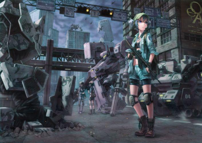 armored core blue eyes blue hair boots crossover gun hat kawashiro nitori kurione (zassou) mecha ruins touhou weapon wallpaper