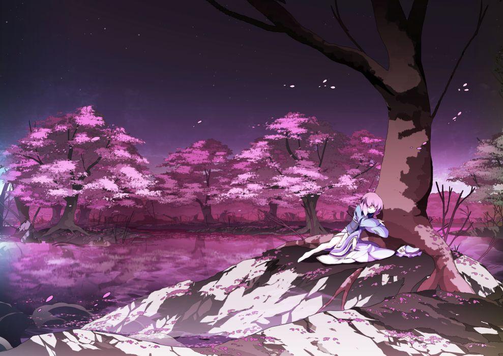 asakura masatoki barefoot cherry blossoms hat landscape night petals pink hair saigyouji yuyuko scenic short hair stars touhou tree water wallpaper
