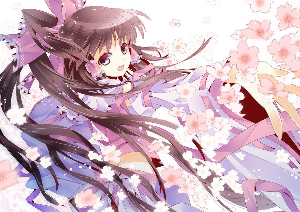 aya003030 bow brown eyes brown hair cherry blossoms flowers hakurei reimu long hair skirt touhou wallpaper