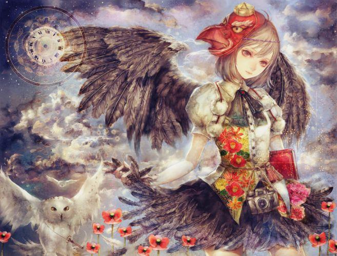 animal bird blonde hair clouds feathers flowers mask shameimaru aya skirt sky stars touhou wings yellow eyes yogisya wallpaper