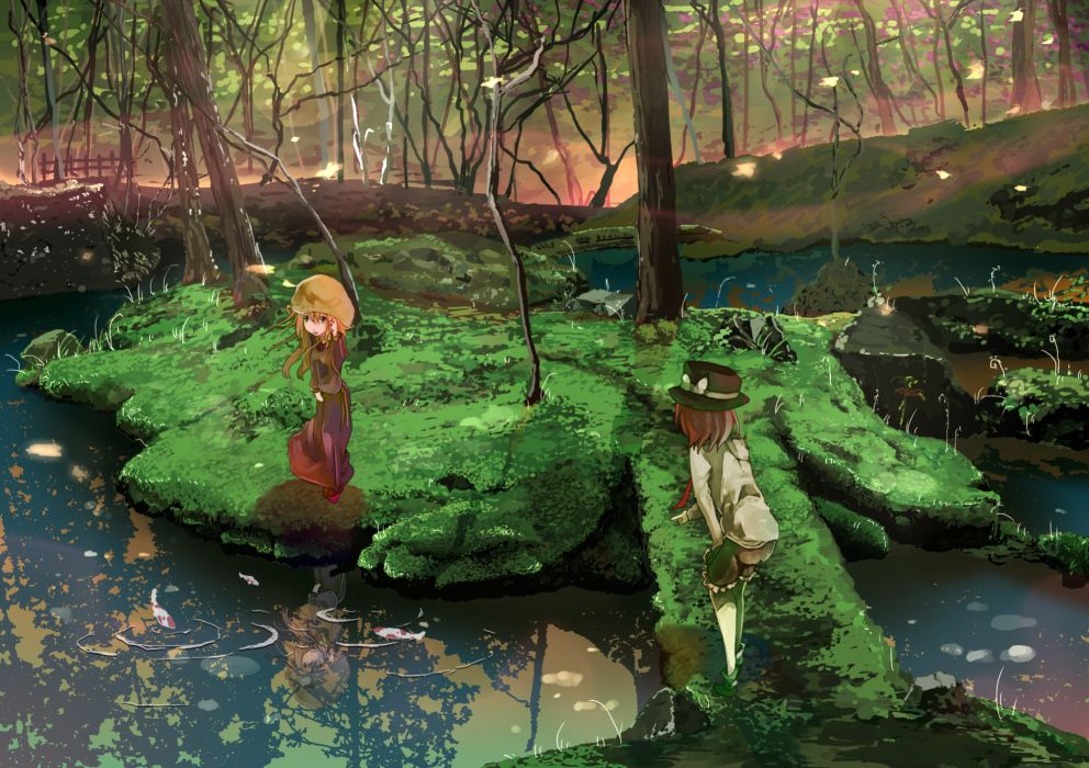 animal dress fish forest hat landscape maribel hearn scenic shinta (hmmuk) touhou tree usami renko water wallpaper