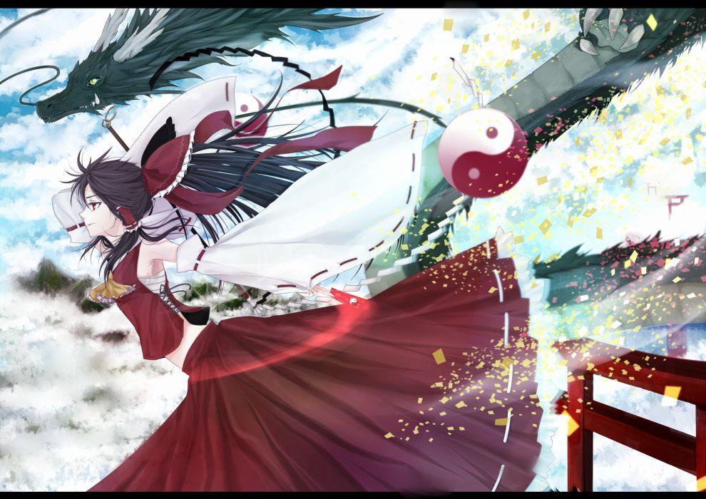 black hair bow clouds dragon hakurei reimu japanese clothes long hair miko ponytail red eyes sarashi sky touhou yume koucha wallpaper