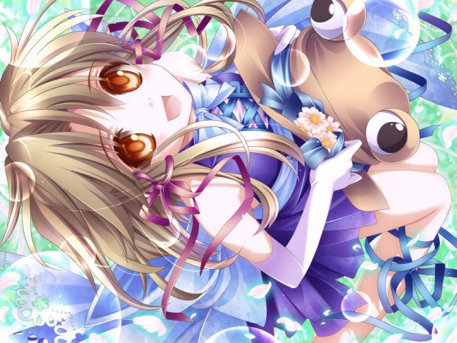 blonde hair blush bow brown eyes dress flowers hat moneti (daifuku) moriya suwako petals ribbons short hair touhou wallpaper