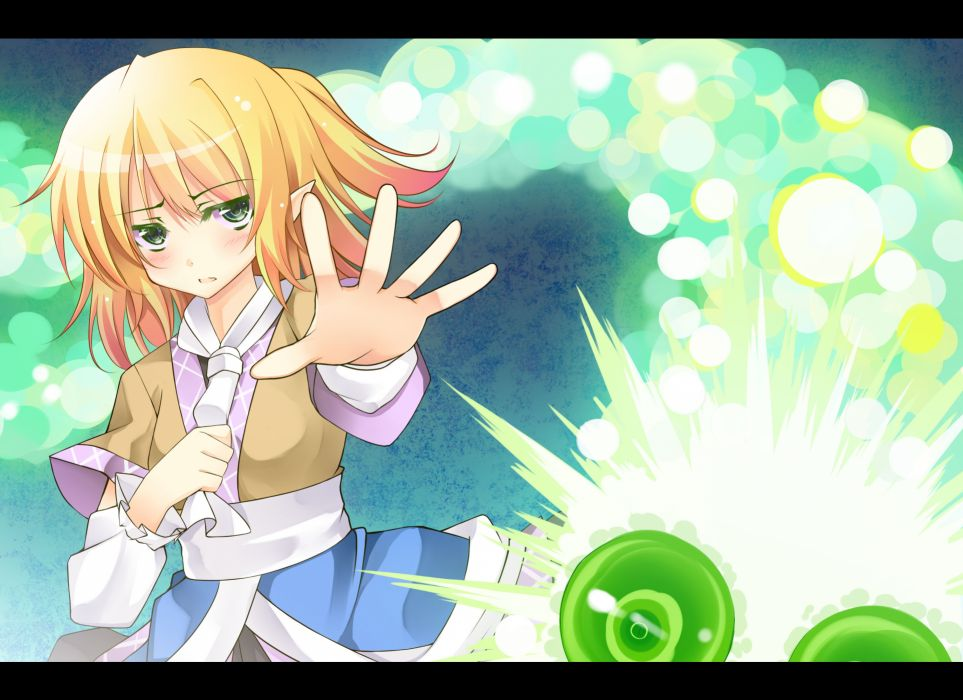 blonde hair blush green eyes kusano (torisukerabasu) long hair mizuhashi parsee ponytail scarf touhou wallpaper