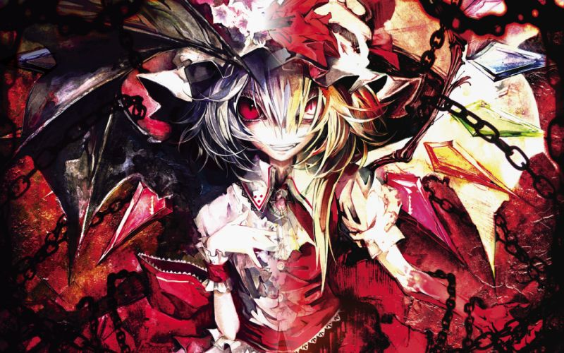 banpai akira flandre scarlet red eyes remilia scarlet touhou vampire wings wallpaper