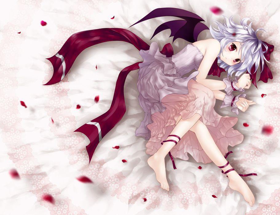 barefoot bed n3 red eyes remilia scarlet ribbons touhou vampire wings wallpaper