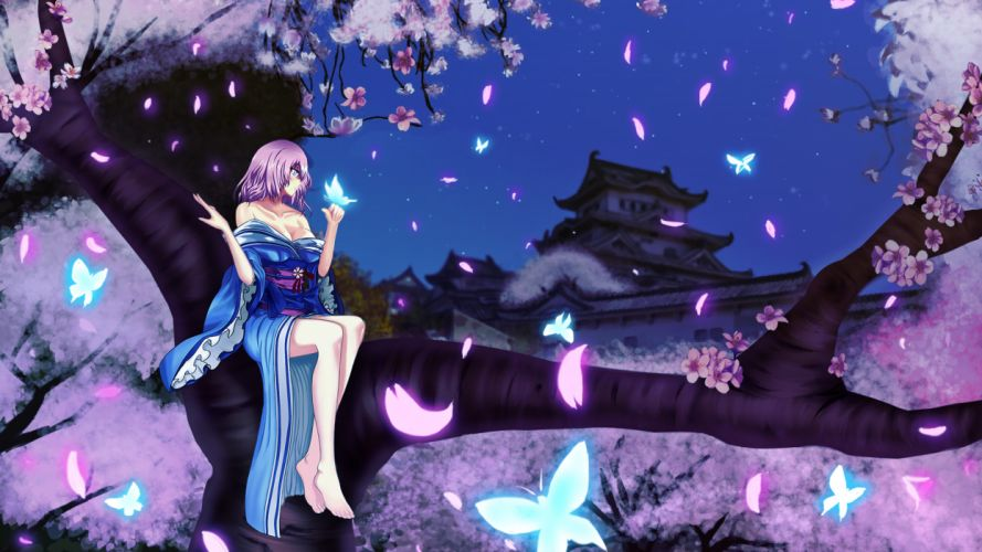 barefoot blue hair building butterfly cherry blossoms cleavage evilpwood flowers jpeg artifacts kimono night petals pink eyes short hair touhou tree wallpaper