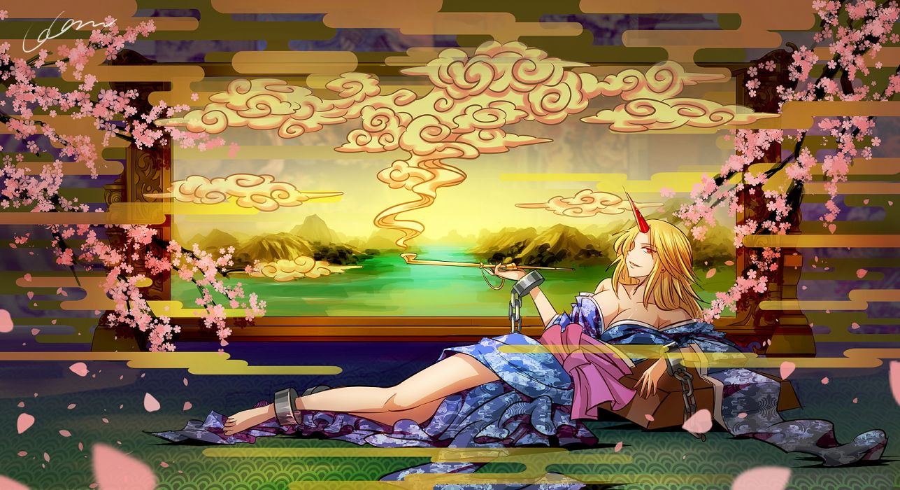 blonde hair cherry blossoms cleavage handcuffs horns hoshiguma yuugi japanese clothes kimono madcocoon red eyes signed smoking touhou wallpaper