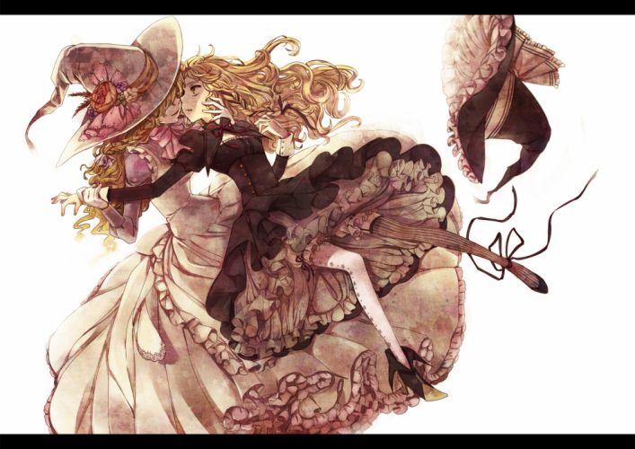 blonde hair dress flowers garter belt hat kirisame marisa long hair matilda ribbons touhou white witch yellow eyes wallpaper