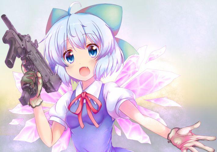 blue eyes blue hair cirno em s gloves gun touhou weapon wallpaper