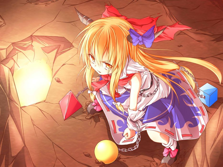 blonde hair bow chain horns ibuki suika jpeg artifacts long hair orange eyes ribbons touhou wakagi repa wallpaper